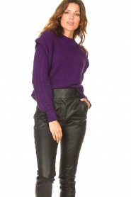 Aaiko    Knitted sweater with shoulder details Ayla   purple    Picture 2
