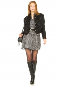 Aaiko |  Print dress with Zarah | black  | Picture 3