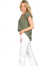 Louizon |  V-neck blouse Ele | green  | Picture 5