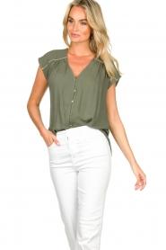Louizon |  V-neck blouse Ele | green  | Picture 2