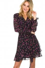 Essentiel Antwerp |  Floral wrap dress Smeagol | black  | Picture 4