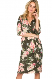 Essentiel Antwerp |  Floral dress Soulja | green   | Picture 4