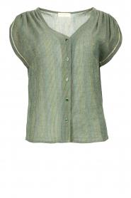 Louizon |  V-neck blouse Albert | green  | Picture 1