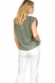 Louizon |  V-neck blouse Albert | green  | Picture 6