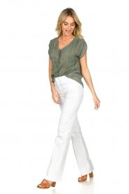 Louizon |  V-neck blouse Albert | green  | Picture 3