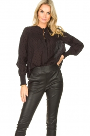 Aaiko |  Sheer dotted blouse Fian | black  | Picture 2