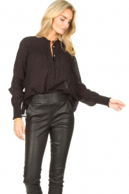 Aaiko |  Sheer dotted blouse Fian | black  | Picture 4