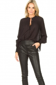 Aaiko |  Sheer dotted blouse Fian | black  | Picture 5