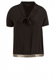 IKKS | Zijden pussybow blouse Lucille | zwart  | Afbeelding 1