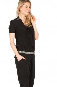 IKKS | Zijden pussybow blouse Lucille | zwart  | Afbeelding 4