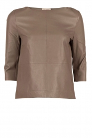Ruby Tuesday | Leren top Raquel | taupe