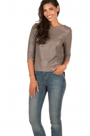 Ruby Tuesday | Leren top Raquel | taupe  | Afbeelding 2