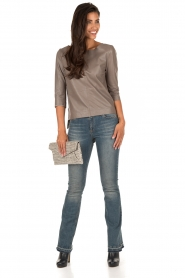 Ruby Tuesday | Leren top Raquel | taupe  | Afbeelding 3