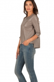 Ruby Tuesday | Leren top Raquel | taupe  | Afbeelding 4