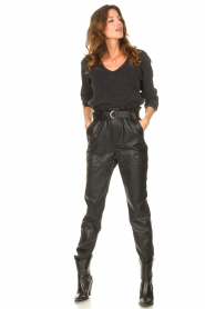Aaiko |  Faux leather broek Pamalla | black  | Picture 2