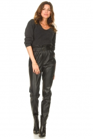 Aaiko |  Faux leather broek Pamalla | black  | Picture 4