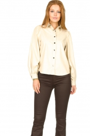 Aaiko |  Faux leather blouse Taliana | natural  | Picture 2