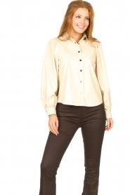 Aaiko |  Faux leather blouse Taliana | natural  | Picture 5