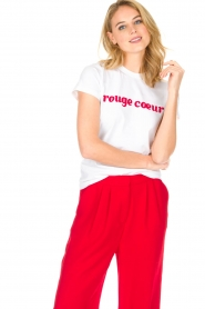 Tara Jarmon |  T-shirt Rouge Coeur | white  | Picture 2