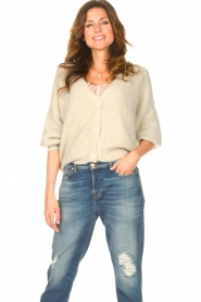 Aaiko |  Knitted cardigan with buttons Malani | beige  | Picture 2