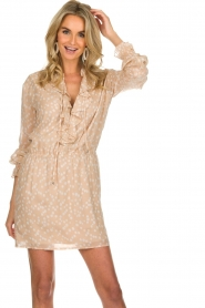Patrizia Pepe |  Dress with dots print Jenny  | beige  | Picture 2