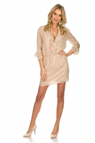 Patrizia Pepe |  Dress with dots print Jenny  | beige  | Picture 3
