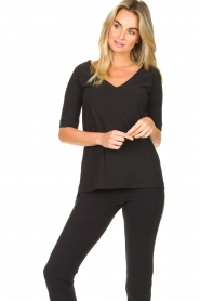 D-ETOILES CASIOPE |  Travelwear v-neck top Vertigo | black  | Picture 2