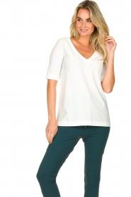 D-ETOILES CASIOPE |  Travelwear v-neck top Vertigo | white  | Picture 5