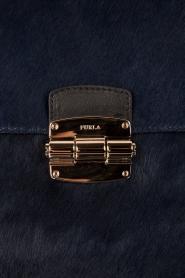 Furla | Leren schoudertas met ponyhair Club M | blauw  | Afbeelding 5