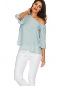 Patrizia Pepe | Off-shoulder top Serena | blauw  | Afbeelding 4