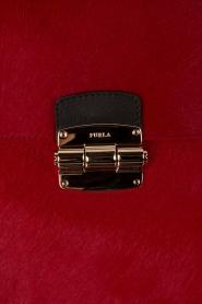 Furla | Leren schoudertas met ponyhair Club M | rood  | Afbeelding 5