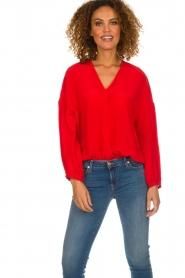 Patrizia Pepe   Zijden blouse Kiara   rood    Afbeelding 2
