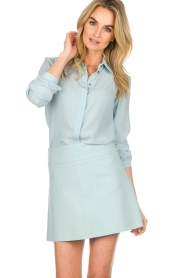 Patrizia Pepe |  Blouse with silver details Marie | light blue  | Picture 2