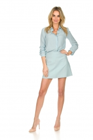 Patrizia Pepe |  Blouse with silver details Marie | light blue  | Picture 3