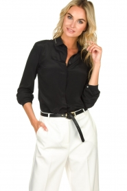 Patrizia Pepe |  Blouse with silver details Marie | black  | Picture 2