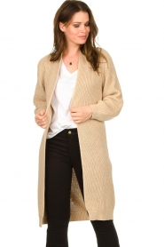 Be Pure |  Long cotton cardigan Sandy | beige  | Picture 4