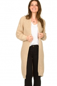 Be Pure |  Long cotton cardigan Sandy | beige  | Picture 2