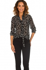 Patrizia Pepe |  Blouse with dots print Nicole | black  | Picture 2
