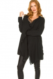 Be Pure |  Cardigan with fringe details Cindy | black  | Picture 4