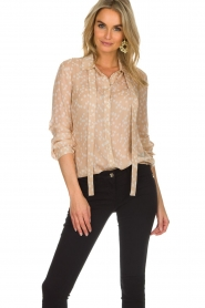 Patrizia Pepe |  Blouse with dots print Nicole | beige  | Picture 2