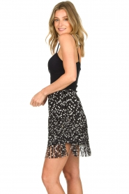 Patrizia Pepe |  Fringe skirt with dots print Pelazzi | black  | Picture 2