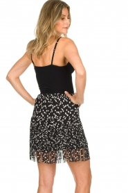 Patrizia Pepe |  Fringe skirt with dots print Pelazzi | black  | Picture 5