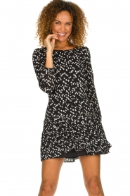 Patrizia Pepe |  Fringe skirt with dots print Pelazzi | black  | Picture 2