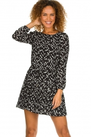 Patrizia Pepe |  Fringe skirt with dots print Pelazzi | black  | Picture 4