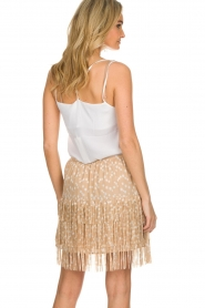 Patrizia Pepe |  Fringe skirt with dots print Pelazzi | beige   | Picture 5