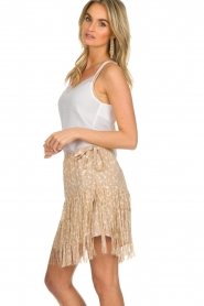 Patrizia Pepe |  Fringe skirt with dots print Pelazzi | beige   | Picture 4