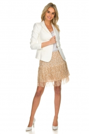 Patrizia Pepe |  Fringe skirt with dots print Pelazzi | beige   | Picture 3