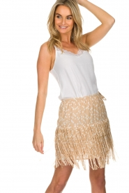 Patrizia Pepe |  Fringe skirt with dots print Pelazzi | beige   | Picture 2