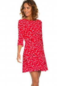 Patrizia Pepe |  Dress with dots print Vivi | red  | Picture 2