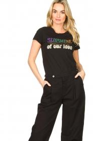 Louizon |  Imprinted T-shirt Sunsine | black   | Picture 2
